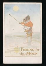 FISHING for the Moon - The Little Mouse Family c1900/20s? PPC