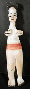 Antique Native Southwestern Latin American Wooden Doll Painted Stumped #2 yqz