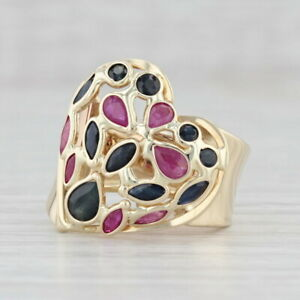 1.75ctw Blue Sapphire Red Ruby Heart Ring 14k Yellow Gold Size 6 Cocktail