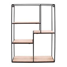 Display Shelf Industrial Style Metal Wall Shelves Unit Wood Retro Shelf Rack