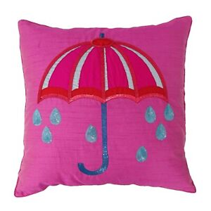 S4Sassy 1 Pc Decorative Pillow Cover Pink Dupion Sequins Umbrella-oAa