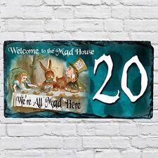 Custom Alice Wonderland Tea Party Mad Hatter House Slate Door Sign Number AWS02