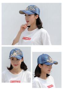 Blue Flower Bling Rhinestone Hats Womens Baseball Cap Jeans Wash Denim