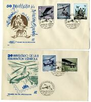 2 Sobres primer dia España 1961 Aniversario de la Aviacion  Spain First day