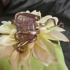 sterling Silver plate Fork Bracelet bangle Handmade vtg spoon cuff purple stone