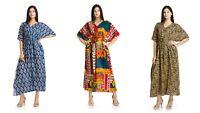 Indian Cotton Decorative Long Beach Cover Gown 3 PC Combo Women Kaftans Dress 4X