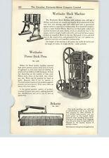 1925 PAPER AD Wettlaufer Bros Cement Concrete Block Machine Power Brick Press