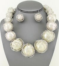 New Statement WIRE WRAPPED White PEARL 35mm Large Bead Silver NECKLACE Jazzy Set