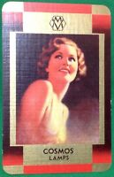 Playing Cards Single Card Old COSMOS LAMPS Lightbulb Advertising Art Girl LADY 4