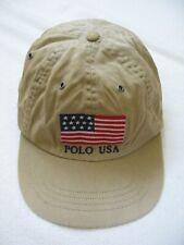 Polo Ralph Lauren Embroidered USA American Flag Washed Khaki Hat Baseball Cap