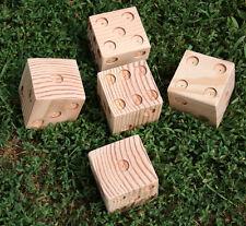 Set Of 5 Drilled Outdoor Yard Lawn Dice Fun Game Yardzee Yahtzee Party  Family