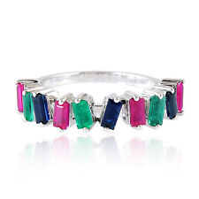 Natural Ruby Sapphire Emerald 18k White Gold Designer Ring Baguette Jewelry