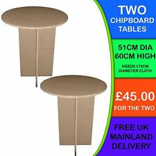 TWO  New Circular Round Chipboard Display Bedside Bedroom Hall Lounge Tables SU7
