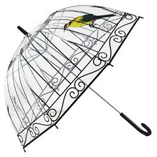NEW Women Transparent Umbrella Round Umbrella Beads Long Handle Rain Umbrella
