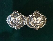 New listing Antique Sterling Silver Kissing Cherubs Repousse Nurses Cape Buckle