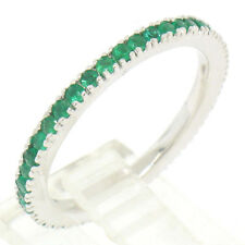 NEW 14k White Gold Stackable 0.67ctw Rich Green Round Emerald Eternity Band Ring