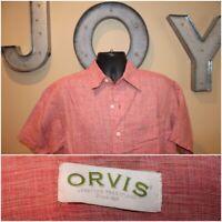 Mens ORVIS 100% Linen Short Sleeve Button Down Shirt : Size medium M