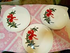 Iva-lure by Crooksville China Red Hibiscus Flower 7 Dinner Plates USA EUC LNC