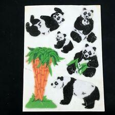 Vintage Flocked Sandylion Sticker Sheet Lot Mama Panda Bears Cub Eating Bamboo