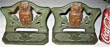 ANTIQUE ART NOUVEAU JUDD MFG. CO. WISE OWL BIRD CAST IRON STATUE BOOKENDS # 9729