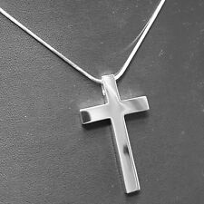 925 Solid Sterling Silver Cross Large Polished  41 x 25 x 4.0 mm + Snake Chain