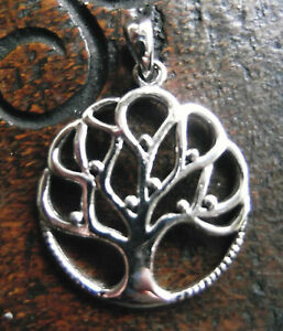 Sterling Silver Tree of Life Pendant Pagan Wiccan Witch Druid Heathen Shaman