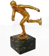 bronze sportif au patineur en bronze doré 1950
