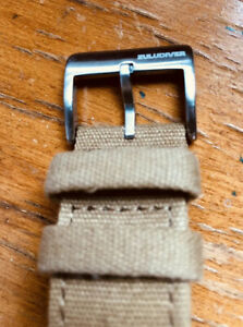 ZULUDIVER Croyde 2 Piece Canvas Quick-Release Watch Strap Khaki 22mm