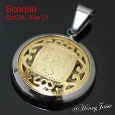 MEN WOMEN Stainless Steel Gold Silver SCORPIO Zodiac Horoscope Charm Pendant*P41