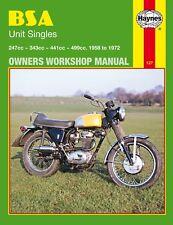 BSA C15 B25 B44 B50 Unit Singles Haynes Workshop Manual B40 1958-72 Victor Star