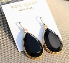 HUGE Kate Spade BLACK GLOSSY TEARDROP CHANDELIER DAY TRIPPER EARRINGS DROP