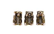 Minifiguren 3 Affen mit Lebensweisheit aus Metall Emaille - Trois Weisen A4 2422
