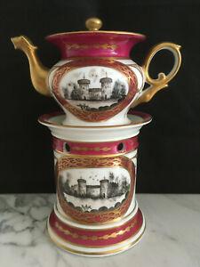 tisaniere porcelaine de paris style empire chateau et fleurs