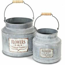 New listing Large Galvanized Bucket Planter, Metal Tin Buckets for Flowers (2 Sizes, 2 Pack)