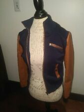 Ambiance Jacket Navy Brown Tan Leather Sleeves Baseball Bomber Faux Leather S