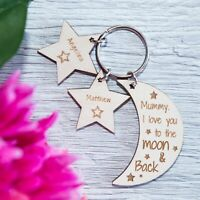 PERSONALISED WOODEN KEYRING MOTHERS DAY GIFT for MUM NANNY GRANNY MOON STARS PLY