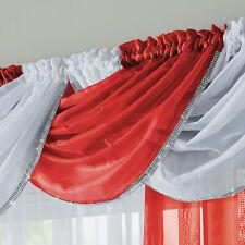 Red Curtain Swag Glitter Diamante Trim Sparkle Voile Curtain Swag 1 x Single