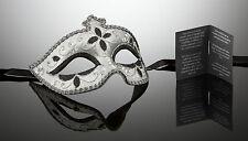 original venezianische Maske Karneval Maskenball Augenmaske Handmade Silber NEU