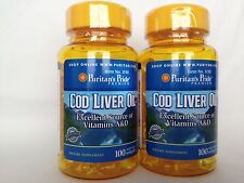 2 Puritan's Pride Norwegian Cod Liver Oil 415mg Vitamins A & D **Made In USA**