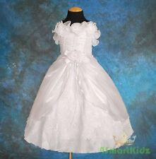 Pearl Rosette Formal Dress Gown Wedding Flower Girl Christening White Size 3 #49