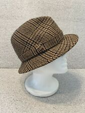 Vintage Burberry Men's Hat Brown Plaid Wool Tweed Trilby Hat Size 7 3/8 Cool!