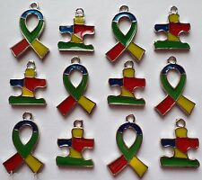 12 Enamel Autism Awareness Ribbon & Puzzle Charms Jewelry Bracelet Earrings A6