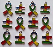 12 Enamel Autism Awareness Ribbon & Puzzle Charms Jewelry Bracelet Earrings A6