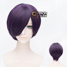 30CM Anime GINTAMA Takasugi Shinsuke Short Purple Straight Hair Wig Bang Cosplay