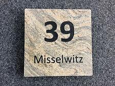 Naturstein Hausnummer Türschild Stein/ Platte an Fassade/ Klingelschild Platte