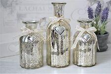 Set of 3 glass mercury bottle bottles ornament vase silver heart ribbon detail