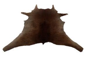 """Cowhide Rugs Calf Hide Cow Skin Rug (33""""x34"""") Furry Brown CH8186"""