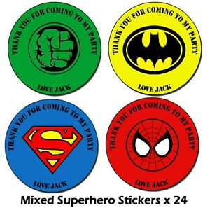 Personalised Superhero Birthday Stickers Party Thank You Sweet Cone Bags Hulk