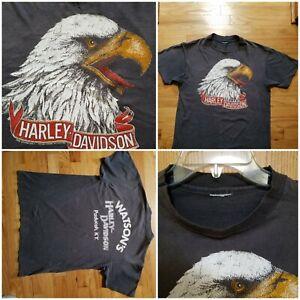 Vintage 1980s T- shirt  HARLEY DAVIDSON For Bikers Only Eagle Sz M
