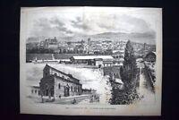 Arezzo: Il Panorama della città - La Cattedrale Incisione del 1882